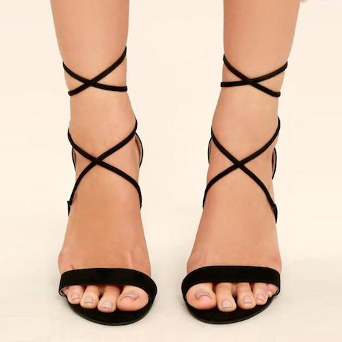 Lulus Aimee Black Suede Lace-Up Heels