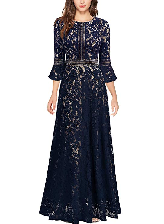 Missmay Vintage Lace Contrast Bell Sleeve Gown