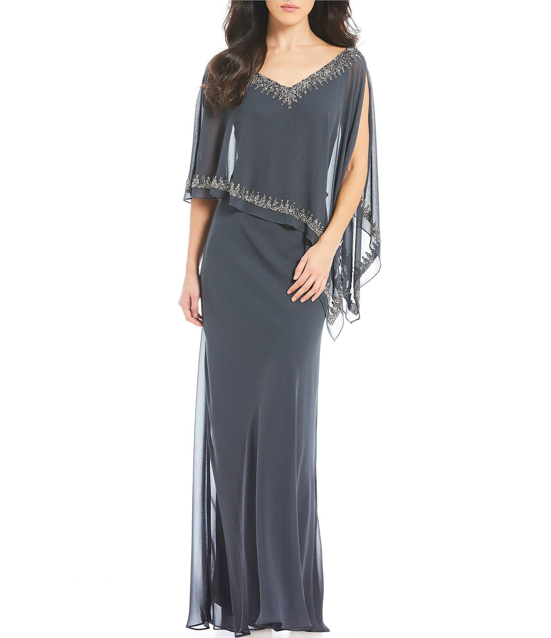 Beaded V-Neck Chiffon Capelet Sheath Dress