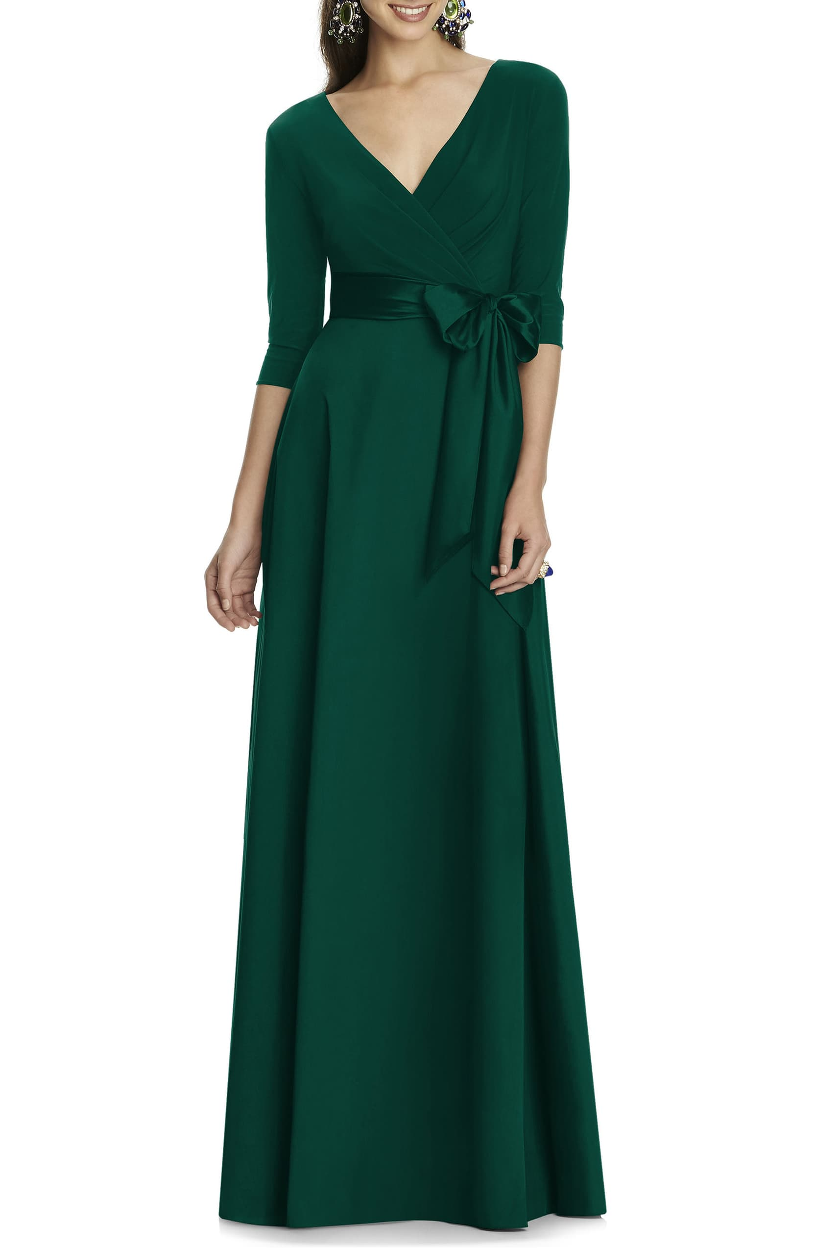 Alfred Sung Jersey Mikado A-Line Gown