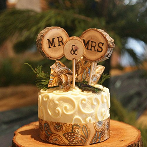 Mr. & Mrs. Rustic Wood Toppers