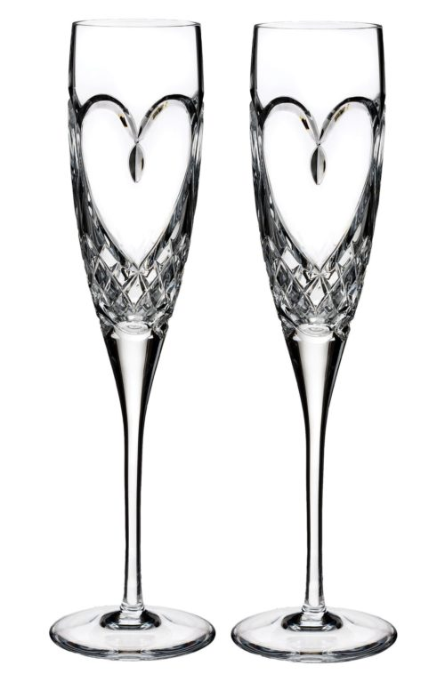 Waterford True Love Crystal Champagne Flutes