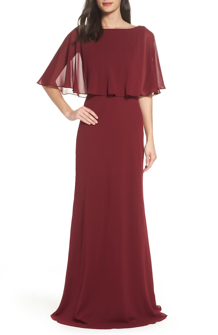Beaded V-Neck Long Bell Sleeve A-Line Gown