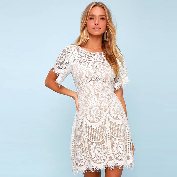 Lulus Pearson White Lace Short Sleeve Dress