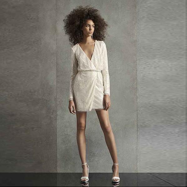 White by Vera Wang Wrap Sequin Mini Dress