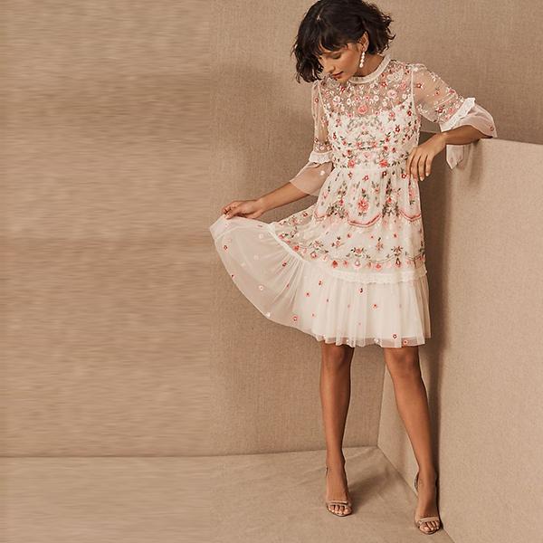 BHLDN Needle & Thread Butterfly Meadow Mini Dress