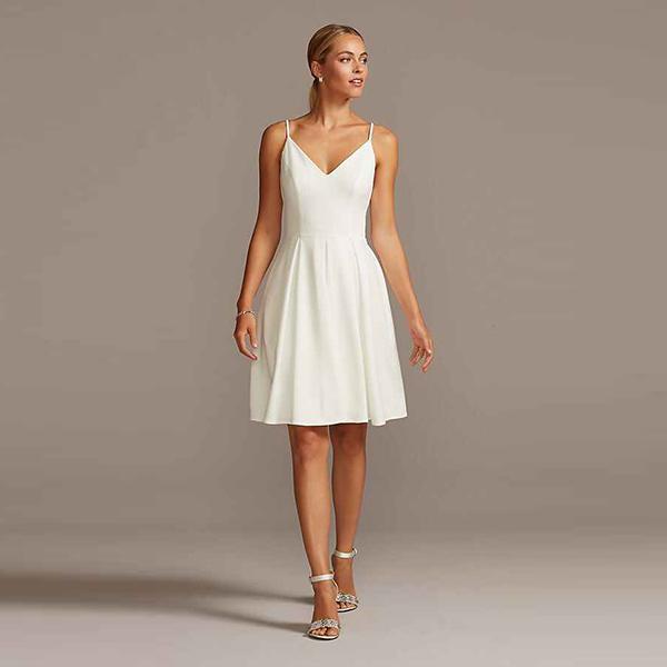 David's Bridal DB Spaghetti Strap Stretch Crepe Fit and Flare Dress