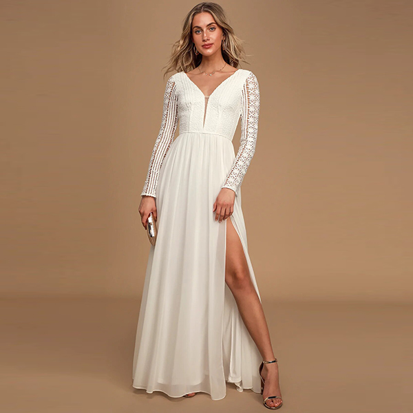 Lulus Always By My Side Ivory Long Sleeve Lace Maxi Dress