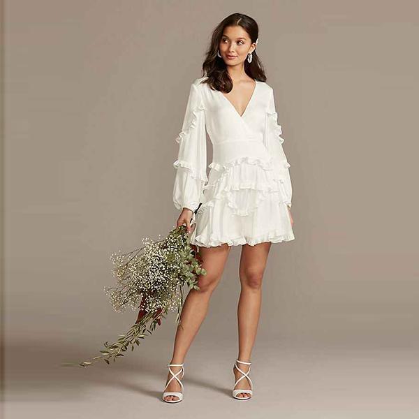Bardot Charmeuse Ruffle Mini Dress with Back Tie