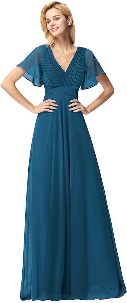 Ever-Pretty Short Sleeve V-Neck Long Evening Dress