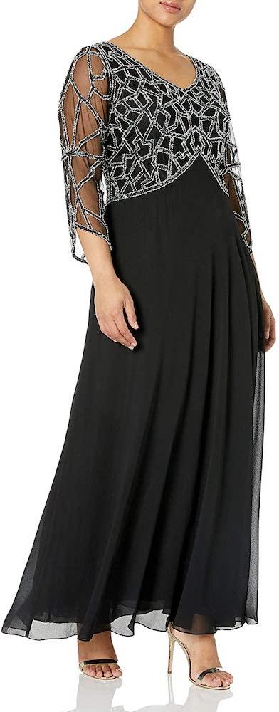 J Kara Plus-Size 3/4 Sleeve Geo Beaded Gown