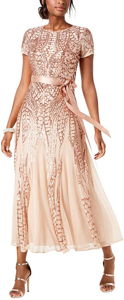 R&M Richards One Piece Short Sleeve Embellished Sequins Gown