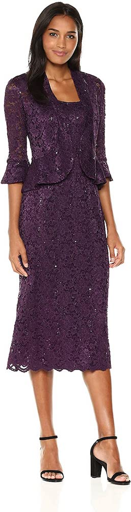 R&M Richards Two-Piece Lace Long Dress with Jacket
