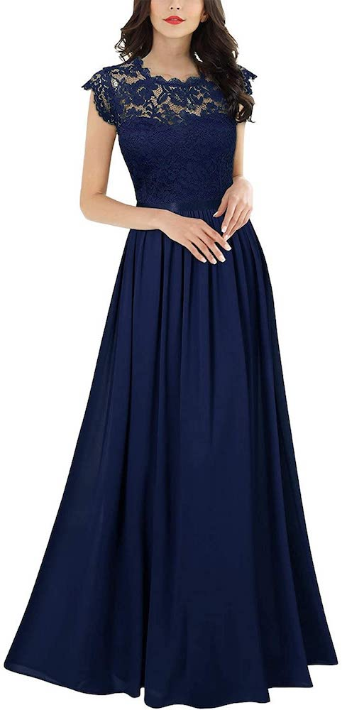 Miusol Formal Floral Lace Evening Party Maxi Dress
