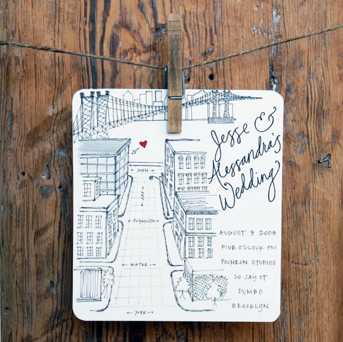 Brooklyn Map Wedding Invitation