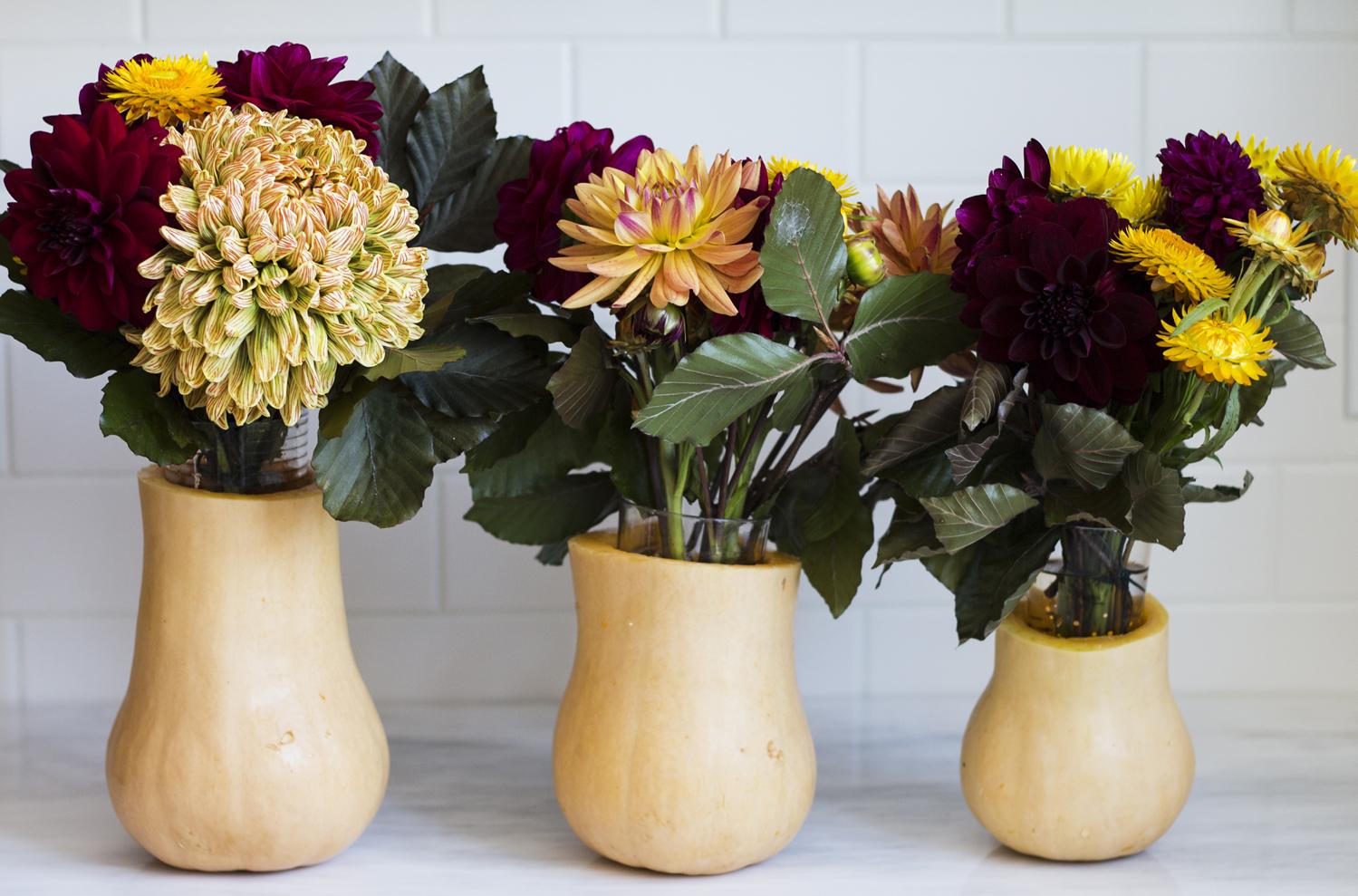 Squash Vase Centerpieces