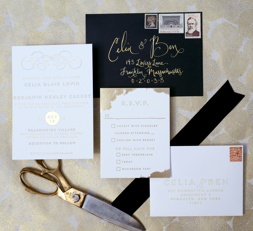 10 Gold Foil Wedding Invitations and Paper Goods to Steal Your Heart