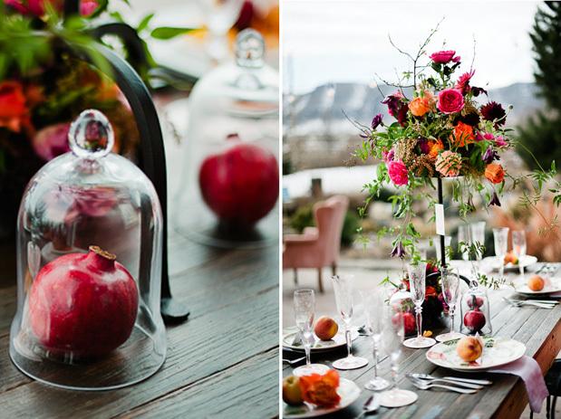 pomegranate wedding arrangements