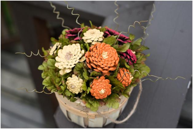 DIY Pinecone Flower Arrangement