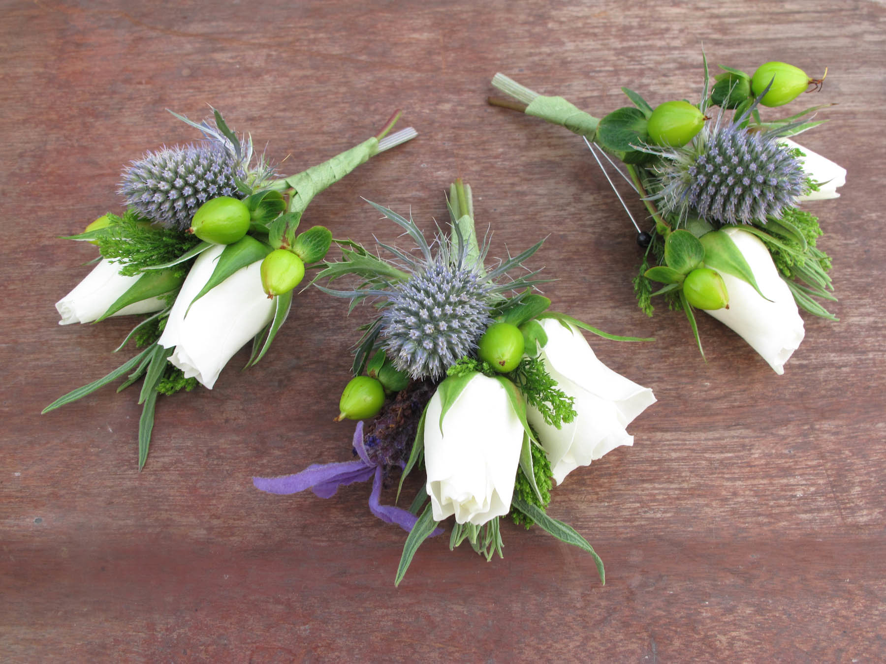 rose and thistle boutonniere
