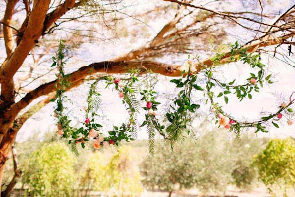 Organic Green Wedding Decor With Vines, Ivy Or Olive Branches